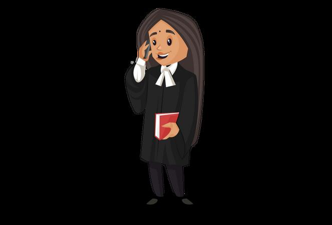 Lawyer talking on phone Illustration