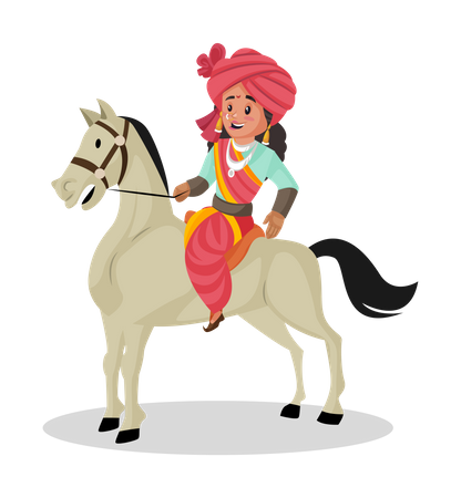 Laxmi Bai riding horse Illustration
