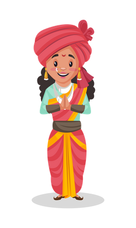 Laxmi Bai standing in welcome pose Illustration