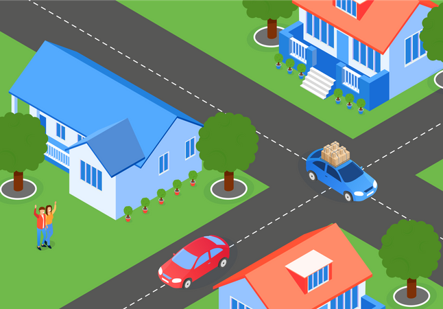 Layout Residential Area with Houses Illustration