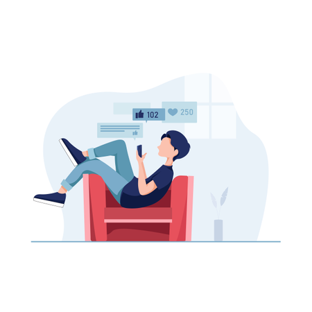 Lazy boy laying down on couch and using social media applications on smartphone Illustration