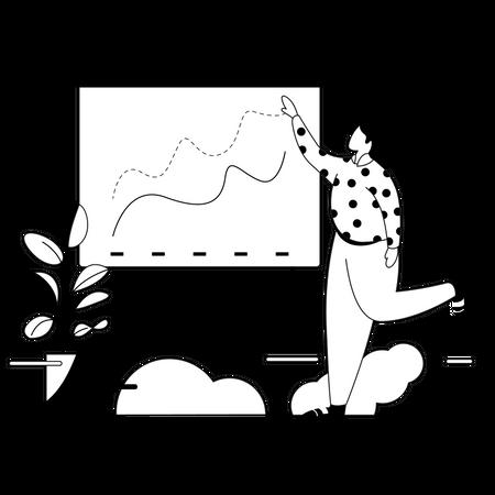 Leader giving presentation on Business profit Illustration