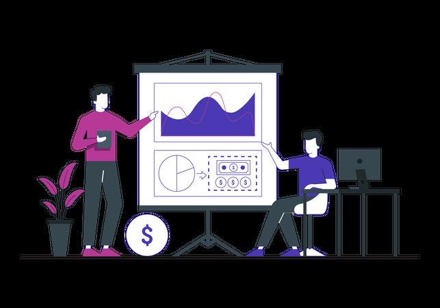 Leader giving presentation on business statistics Illustration