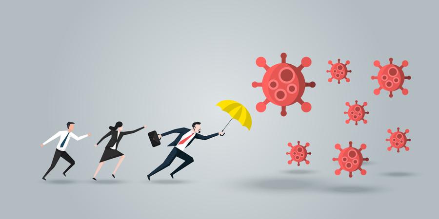 Leader Protect His Team, a Businessman With Yellow Umbrella Defense Coronavirus 2019 or Covid-19 Illustration