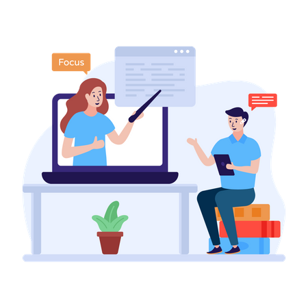 Learning blockchain technology online Illustration