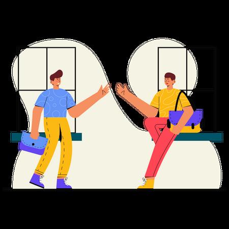 Leaving school by saying goodbye Illustration