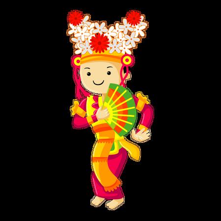 Legong Dance from Bali Illustration