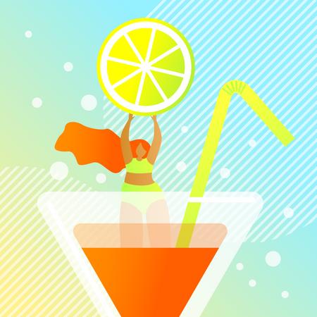Lemon Cocktail Illustration