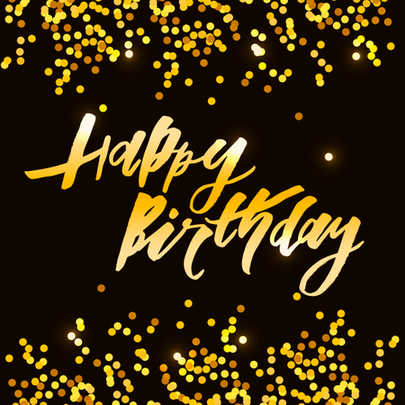 Lettering with phrase Happy Birthday. Vector illustration. Gold Illustration