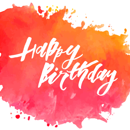 Lettering with phrase Happy Birthday. Vector illustration. watercolor Illustration