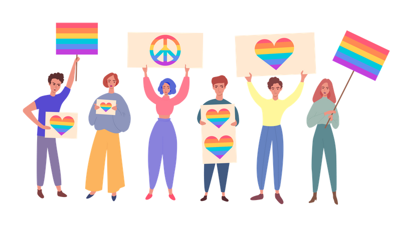 Lgbt community pride concept with people, men and women cartoon characters holding rainbow signs and flags Illustration