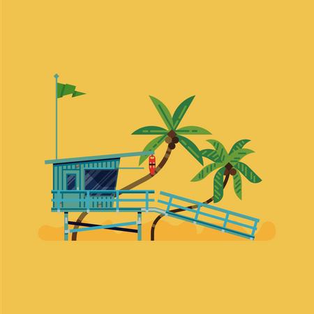 Lifeguard tower on beach side Illustration