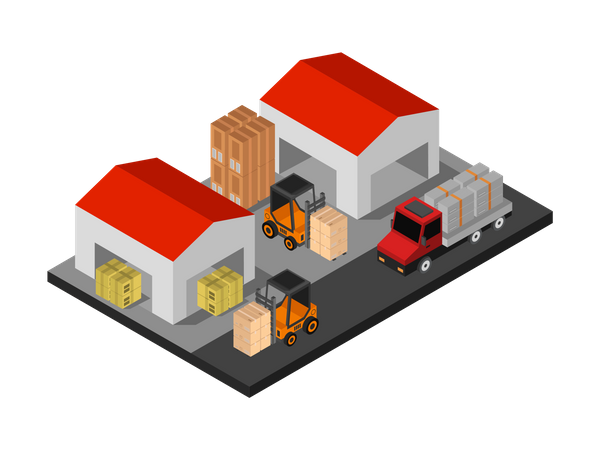 Lifting machines moving boxes in warehouse Illustration