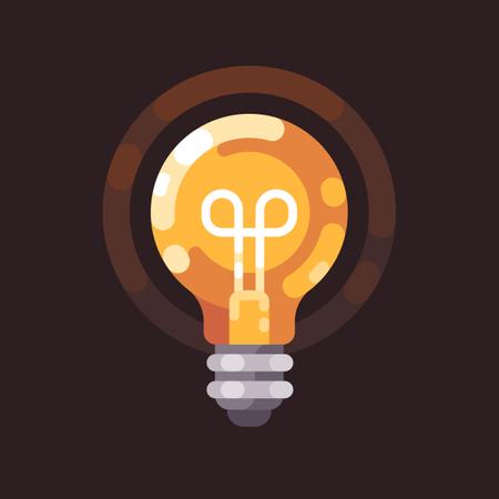 Light bulb shining in the dark Illustration
