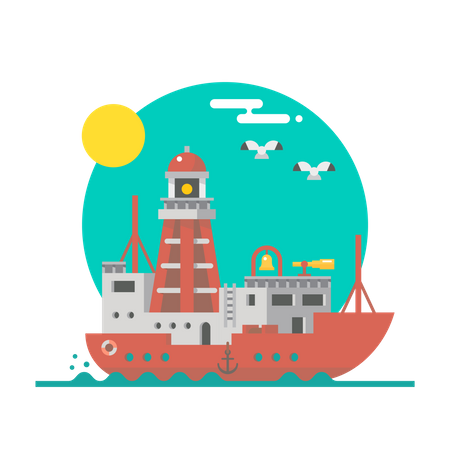 Light ship Illustration