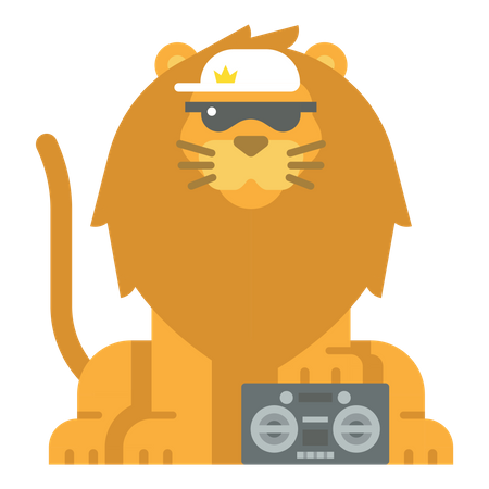 Lion with Tape recorder Illustration