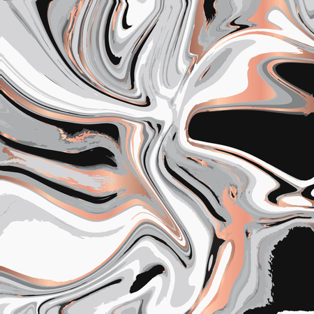 Liquid marble texture design, colorful marbling surface, copper shiny lines, vibrant abstract paint design Illustration