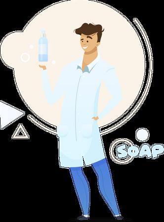 Liquid soap manufacturing Illustration