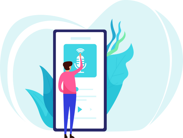 Listen podcast on smartphone Illustration