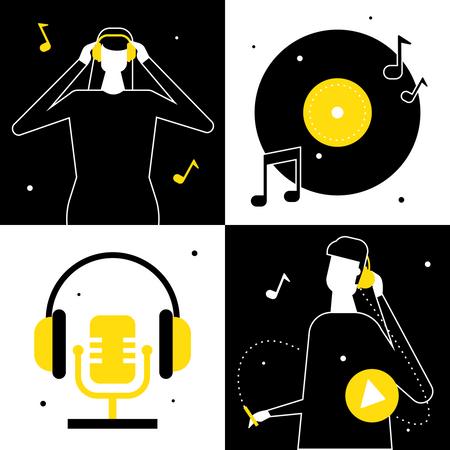 Listening to music Illustration