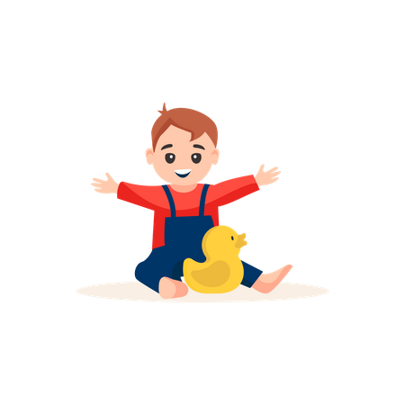 Little baby boy playing with plastic duck Illustration