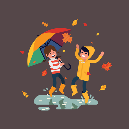 Little boy and girl having fun outside wearing rubber boots, yellow raincoat and rainbow colored umbrella Illustration