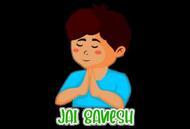 Little boy with folded hand worshiping lord ganesha Illustration