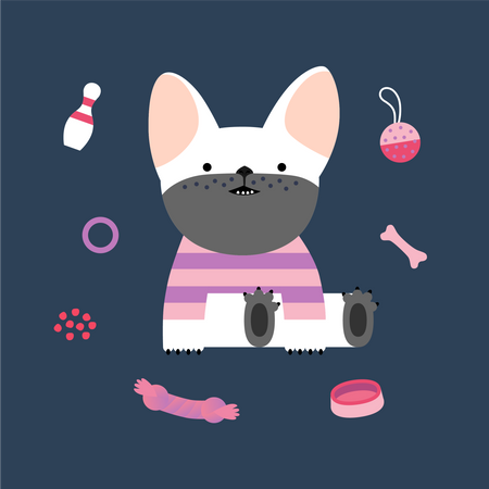 Little French bulldog puppy wearing a striped t-shirt sitting surrounded by its toys Illustration