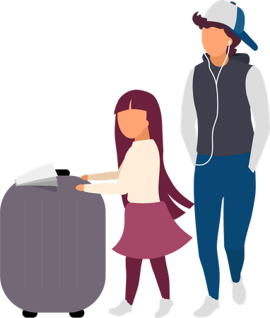 Little girl and teenager with luggage Illustration