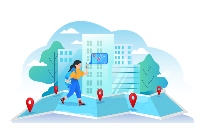 Little girl finding the location from the mobile GPS Illustration