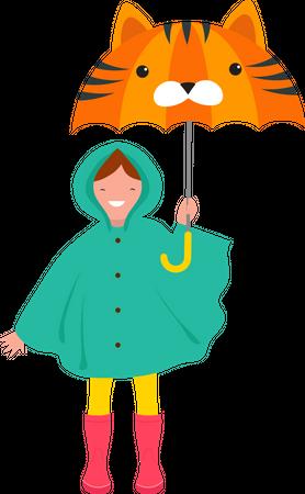 Little girl holding umbrella Illustration