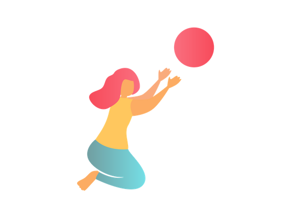 Little girl playing with ball Illustration