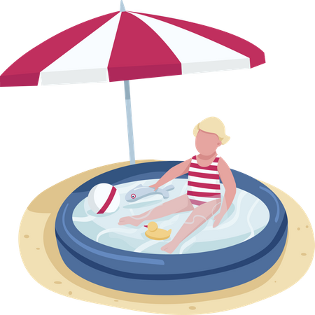 Little girl playing with toys in inflatable pool Illustration
