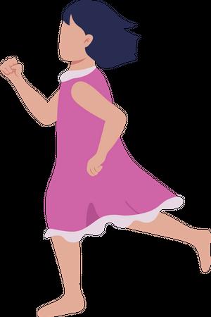 Little girl running Illustration