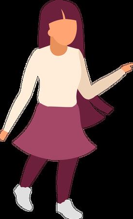 Little girl walking street Illustration