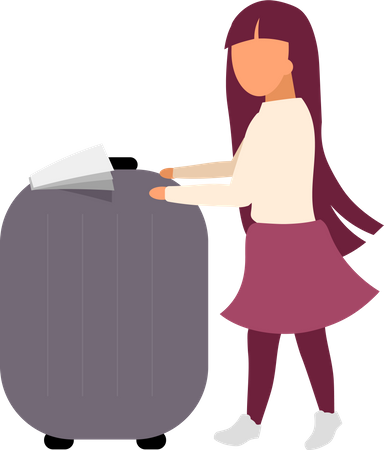Little girl with luggage Illustration