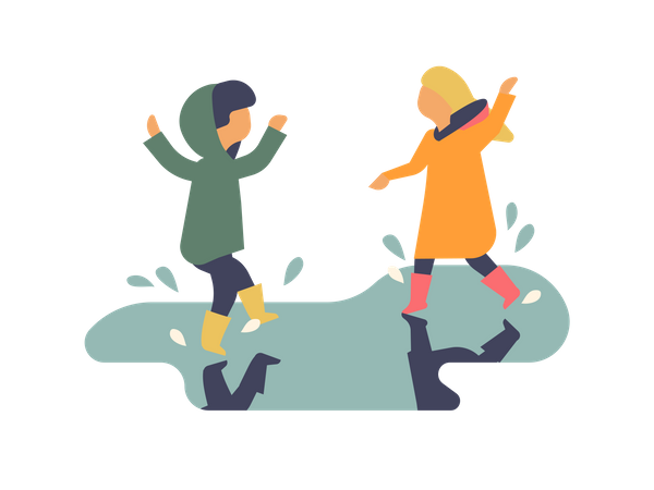 Little girls playing in pothole water Illustration