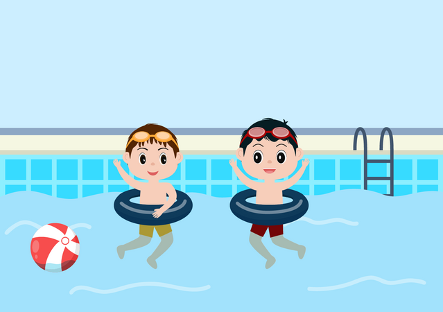 Little kids playing in swimming pool Illustration