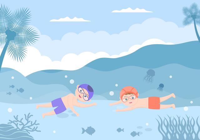 Little kids swimming underwater Illustration