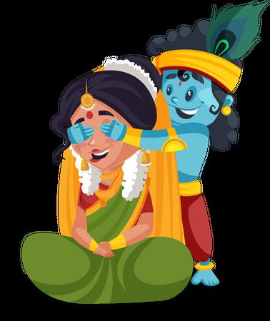 Little krishna playing game with yashoda maa Illustration