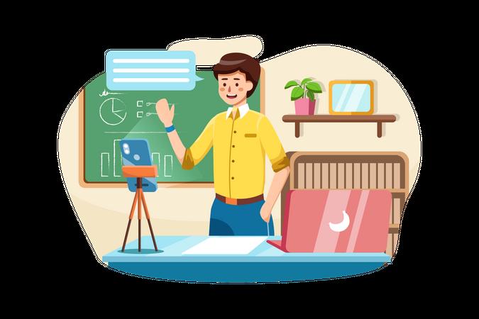 Live Educational coach conducting online classes Illustration