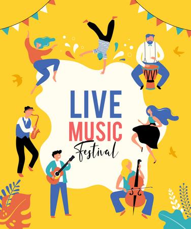 Live music festival banner Illustration