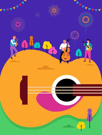 Live music festival, jazz and rock Illustration