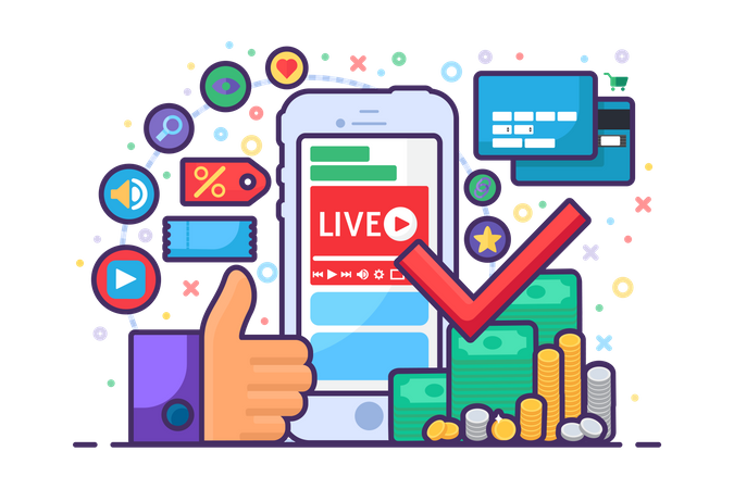 Live stream about finance concept Illustration