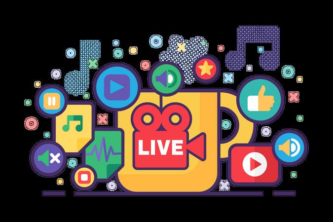 Live stream production Illustration