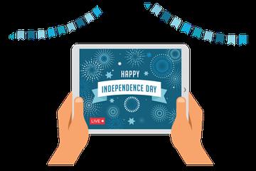 Online Celebration Of Independence Day Illustration Pack