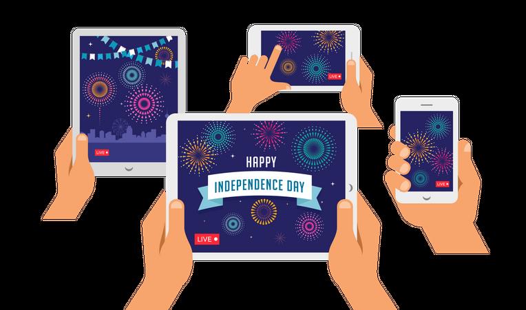 Live streaming of Independence day celebration Illustration