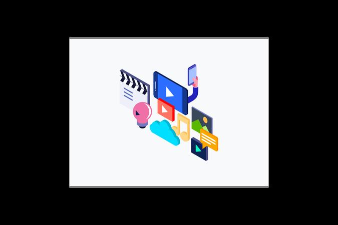 Live Streaming on different social platform Illustration