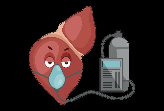 Liver with oxygen cylinder Illustration