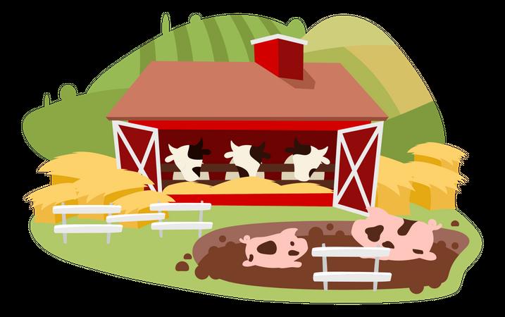 Livestock and cattle farming Illustration